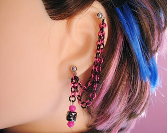 Double Pierced Cartilage Chain Earring, Multiple Piercings or Ear Cuff - Hot Pink and Black Punk Jewelry
