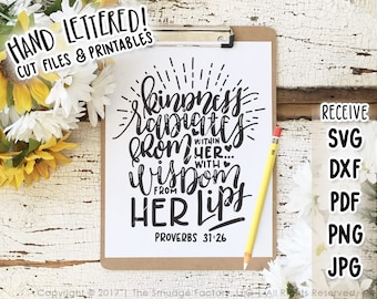 Bible Verse Printable, Proverbs 31:26 Print, Hand Lettered Verse, Girl Power T-Shirt Design, Bible Verse Tee, Be Kind Print, Girl Boss