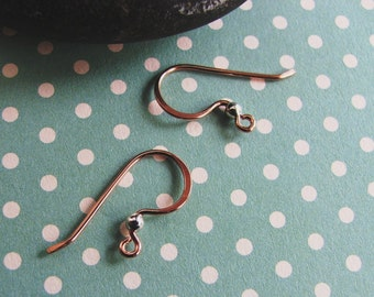 3 pair Silver beaded Copper Ear Wires - 20 gauge Classic French Handmade Earwires