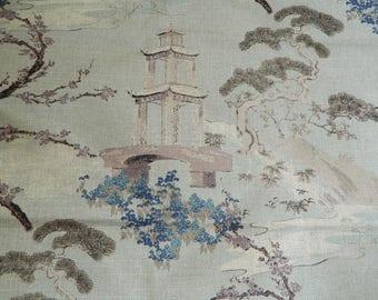 Regal R-ZEN FLAX / Decorative Throw Pillow Cover Euro Pillow Cover / Asian / Chinoiserie / Pagoda