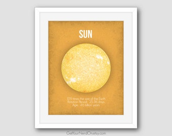 Sun Nerd Poster, Astronomy Print, Educational Wall Art, Gifts for Nerds