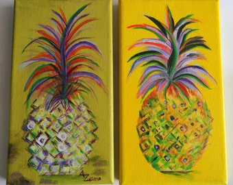 Happiness Pineapple, Original Acrylic By Australian Artist Ann Maree - Set of 2