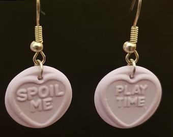 Handmade Fimo Lilac Loveheart Sweets Earrings