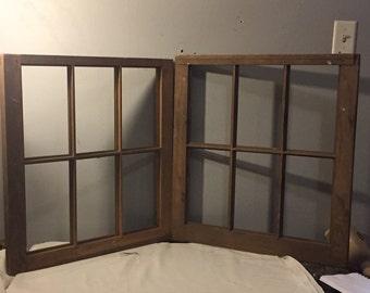 TWO Six Pane Windows - PAIR of Vintage Wooden Six Pane Windows - No Glass - Bare Wood - Old Repurposing Windows