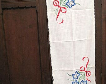 Vintage Embroidered Table Scarf