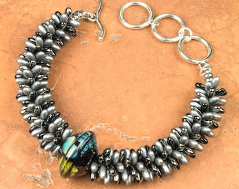 KUMIHIMO BRACELET Nickel and Black Rizo Bead Bracelet and Lampwork Focal Gift for Her Birthday Anniversary Mother's Day Handmade Gift