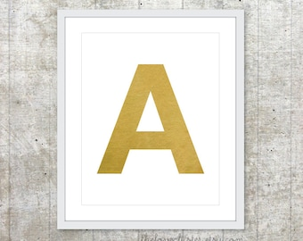 Custom Initial Letter -  Typography Art Print  - Faux Gold - Modern Home Decor - Wall Art
