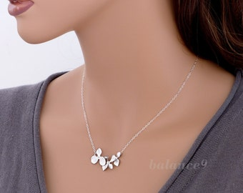 Orchid Flower Necklace, sterling silver chain, delicate trio orchid floral jewelry gift, by balance9