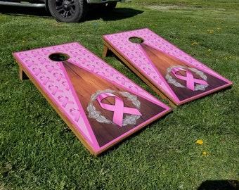 Pink ribbon cornhole, cancer ribbon, save the tatas, bags baggo