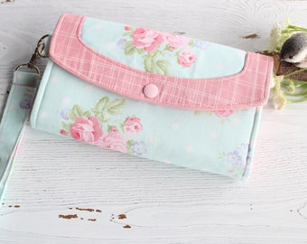 Womens wallet, pink roses  clutch wallet, Womans clutch, Wristlet wallet, handmade  fabric wallet, credit card wallet, phone wallet