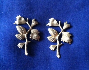 2 Solid Brass Pine Cone Embellishment Stampings Findings