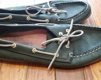 Vintage Sperry Topsiders boat deck shoes navy blue leather women's size 10 M/ Men's Size 8