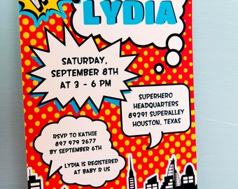 Superhero BABY Shower Party Printable 5 x 7 inch Invitation, INSTANT DOWNLOAD, You Edit Yourself with Adobe Reader