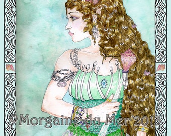 Fand Fairy Queen Celtic Sea Goddess Mermaid Fantasy Fine Art Print Seashell or Knotwork Border Pen and Ink Watercolor Illustration