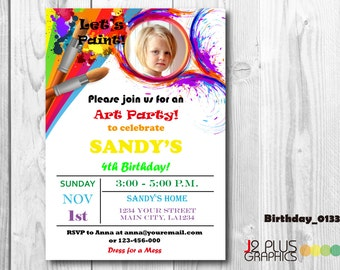 Photo Art Birthday Invitation Card, Art Photo Birthday Invitation with Photo, Paint Birthday Party Invitations, Painting Birthday Invites