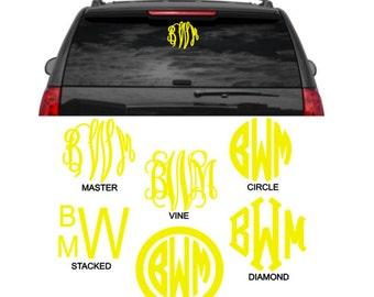 8 Inch Monogram Vinyl Car Decal