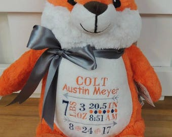 Personalize Little Elska Stuffies, Plush Fox animal, Birth Announcement Fox Animal, Personalized Fox