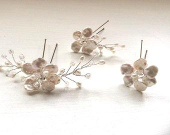 Bridal hair accessories, wedding hair accessories, bridal hairpins, wedding hairpins, hairpiece, 3 Handmade pearl hairpins