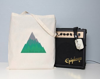 Mountain tote, cotton tote, nature tote, school bag, shopper, tote bag, cotton tote, geometric bag, art tote, mountain, green tote bag, bags