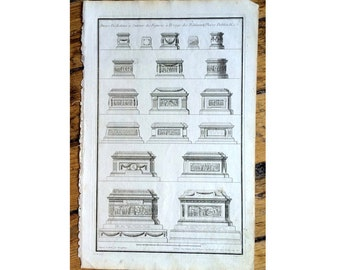 1757 PEDESTIALS original antique french architecture building details engraving