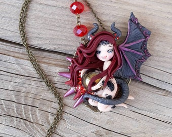 Ooak Lady Dragon Doll Necklace