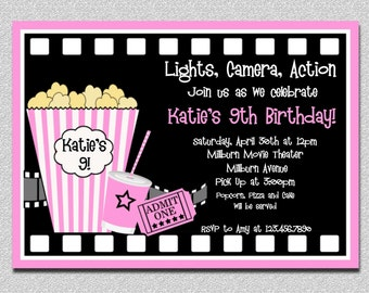 Movie Birthday Invitations, Pink Movie Night Birthday Party Invitation, Girls Movie Birthday Invitation,  Movie Night Birthday Invitation