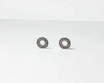 Tribal Open Circle Sterling Silver Stud Earring, tribal open circle stud earrings , boho earrings, round studs