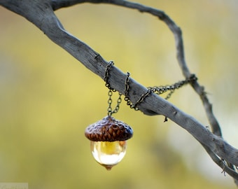 Acorn amber necklace Autumn Fall jewelry botanical resin jewelry nature lover gift, nature lover gift