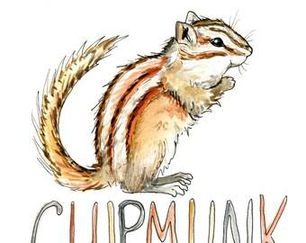 Chipmunk Watercolor Print - Woodland Art - Nursery Art - Kids Decor - Chipmunk Illustration