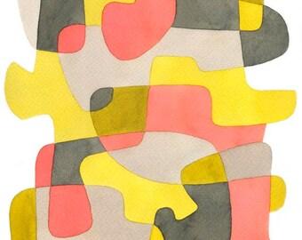Abstrait Art Print affiche milieu du siècle moderne du foyer «Jaune et rose» jaune rose gris noir 8 x 10