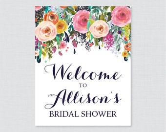 Floral Bridal Shower Welcome Sign Printable - Garden Party Bridal Shower Customizable Sign - Colorful Flowers Bridal Shower Decor 0002-B