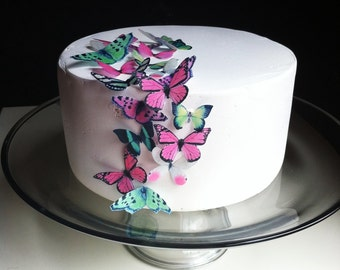 EDIBLE Butterfly Cake Decorations - 24 Green and Pink - Edible Butterfly Wedding Cupcake Toppers - PRECUT and Ready to Use