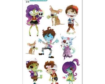 Zombie Cuties Planner Stickers