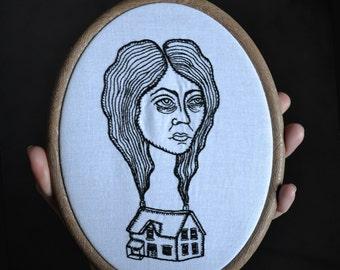 "Find Home - framed hand embroidered original design, 20cm/7.5"" hoop included, embroidery art"