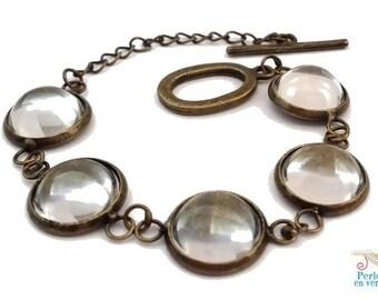bronze 1 bracelet + 5 cabochons 12mm glass, Toggle clasp, (bra17)