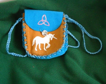 Unicorn Medicine Bag, Spell Bag,  Leather Pouch
