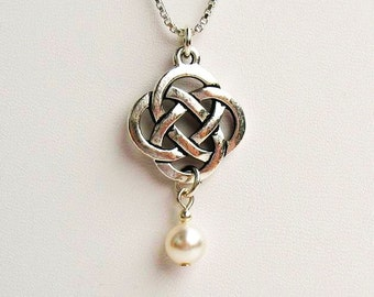 Celtic Knot Necklace with White Crystal Pearl  - on Sterling Silver Chain