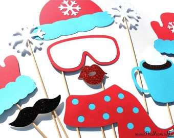 Winter Photo Booth Props - 10 piece set - GLITTER Photobooth Props - Snow Bunny, Ski Bunny - Red and Blue