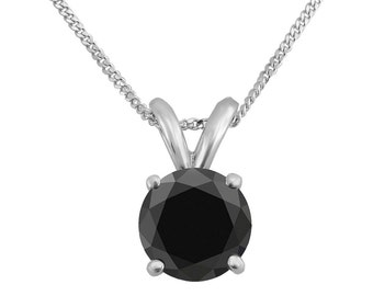 1.00ct Natural Black Diamond 14k White Solid Gold Solitaire Round Pendant Necklace