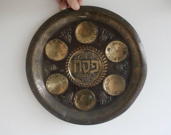 Brass Passover Seder Plate, Hebrew English Plate, Jewish Holiday, Passover Tray, Antique Pesach Plate, Judaica, Haggadah Dish