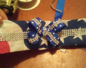 4th of july bandana with glitter bow