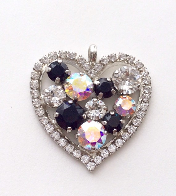 Swarovski Crystal - Heart Shaped - Add-On Charm - in Aurora Borealis, Radiant Crystal Clear and Jet ++++  FREE SHIPPING - SALE - 35.