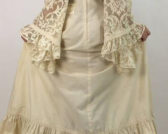 50s 60s 70s crochet bell sleeve maxi/ivory white crochet cotton dress