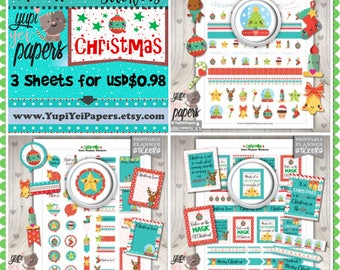 Christmas Stickers, Planner Stickers, Kawaii Stickers, Cute Stickers, Christmas Planner, Planner Accessories, Christmas Time
