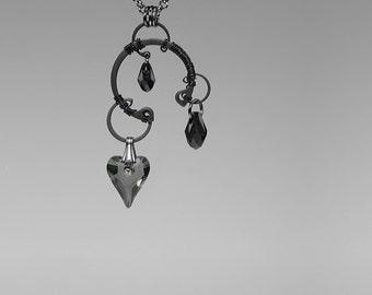 Swarovski Crystal Pendant, Black Diamond Swarovski Crystal, Swarovski Necklace, Industrial Jewelry, Grey Crystal Hearts, Neso v2