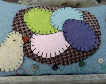 Primitive Wool Peep Chick Spring pillow