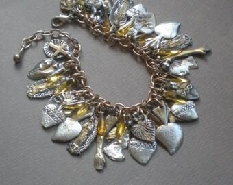 Virgin of Guadalupe Blessing Charm Bracelet. Milagro Heart Charms. GIFT. Mother Daughter, Bridal Shower gift. Prosperity Abundance Health