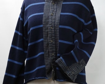 Blue Striped Cardigan, Sweater Upcycle,repurpose reuse, women's sweater