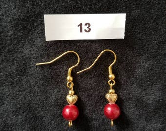 Red Earrings with Gold Hearts