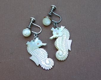 Vintage Seahorse Earrings . MOP . Mother of Pearl . screw back earrings